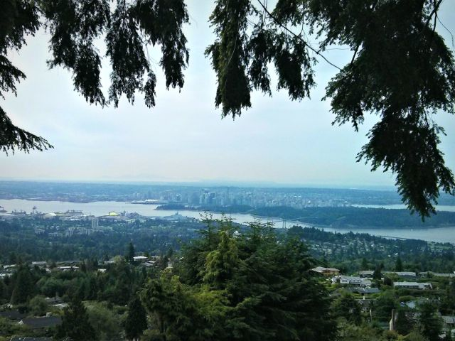 The trailhead greets you with beautiful views of downtown Vancouver.