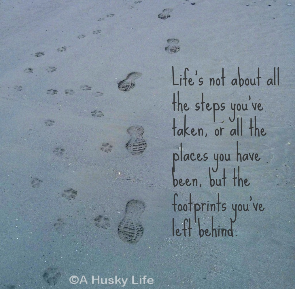 Life's not about all the steps you've taken, or all the places you have been, but the footprints you've left behind